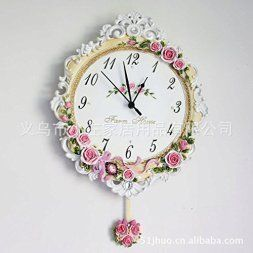 Pink wall art is cute, charming and adorable. In fact, pink home wall art décor is great  for living rooms, bathrooms, offices and especially girls bedrooms. My teenager loves cute floral pink décor which  is why she is really into pink wall décor.  I love pink personally because it is playful, creative and eclectic  #pinkdecor #pink      wall clock Limited Edition resin clock creative life of European pastoral resin wall clock pink romantic rose