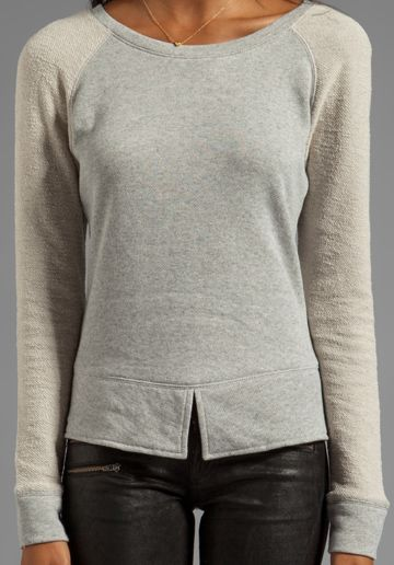 PENCEY STANDARD Split Hem Sweatshirt in Heather Grey - Pencey Standard