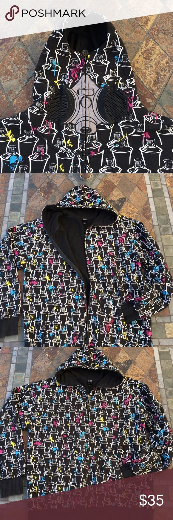🆕 SoCal Spray Paint Zip Up Hoodie Black zip up hoodie has spray cans with blue, yellow & pink paint. Zip up the hood all the way as shown in photos to see the mask. Content is 70% Cotton & 30 % Polyester. In excellent condition with NO spots or holes. SoCal Jackets & Coats