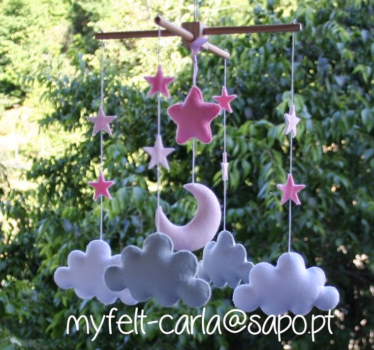 Baby Mobile, Stars Clouds Baby Mobile, Baby Crib Mobile, Nursery Mobile, Felt Gift, Birth List, Baby Shower, Baby Pink Gift Dolls Handmade by myfelt on Etsy https://www.etsy.com/listing/267718948/baby-mobile-stars-clouds-baby-mobile