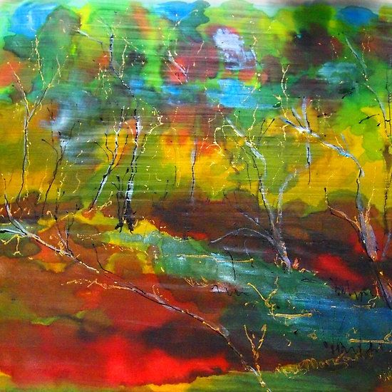 The magic of the forest (silk paint on silk)