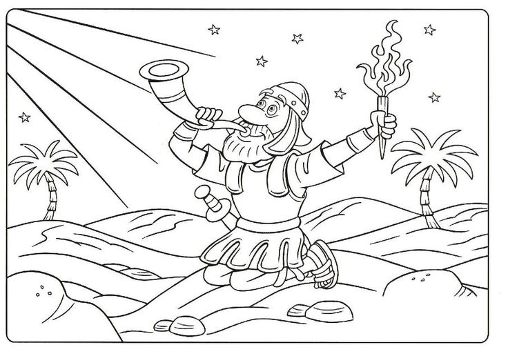 gideon coloring page - Gideon Bible Story Coloring Pages