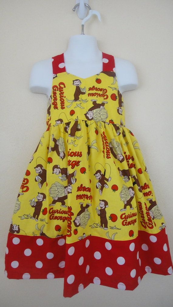 Girls Curious George   birthday party dress 4T by BDUSTY on Etsy