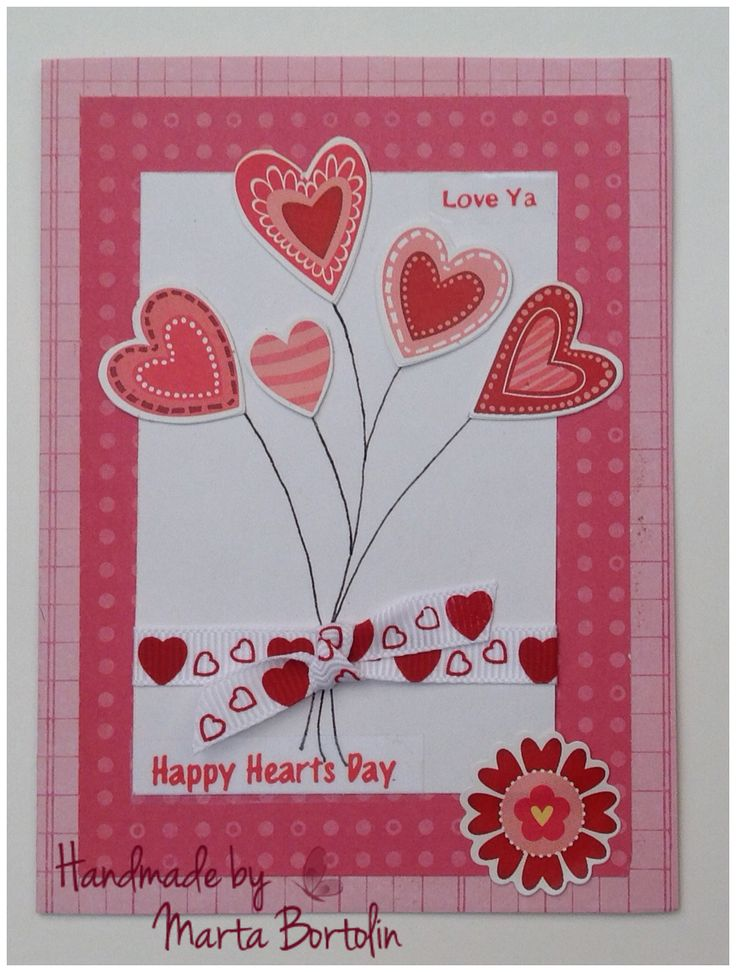Happy Valentine's Day Card, fabric ribbon and heart stickers
