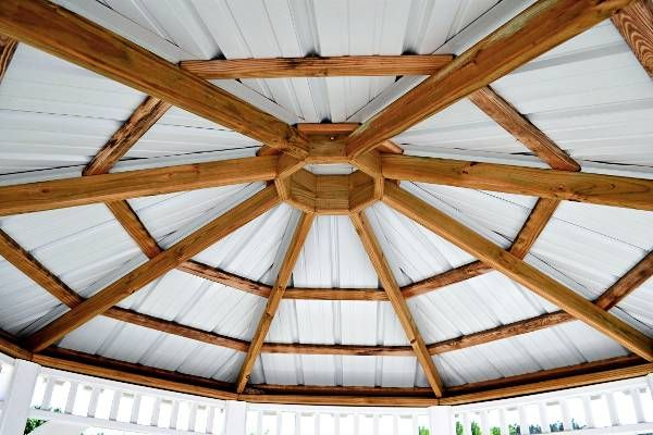 85 best gazebos images on pinterest for Hexagonal roof framing
