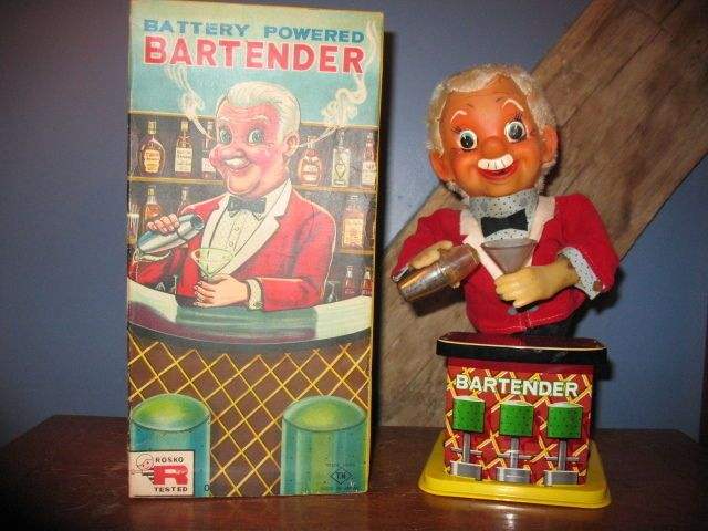 "Vintage Charlie Weaver (Rosco The Bartender)  Battery Operated Toy  ""With Box"" #Rosco"