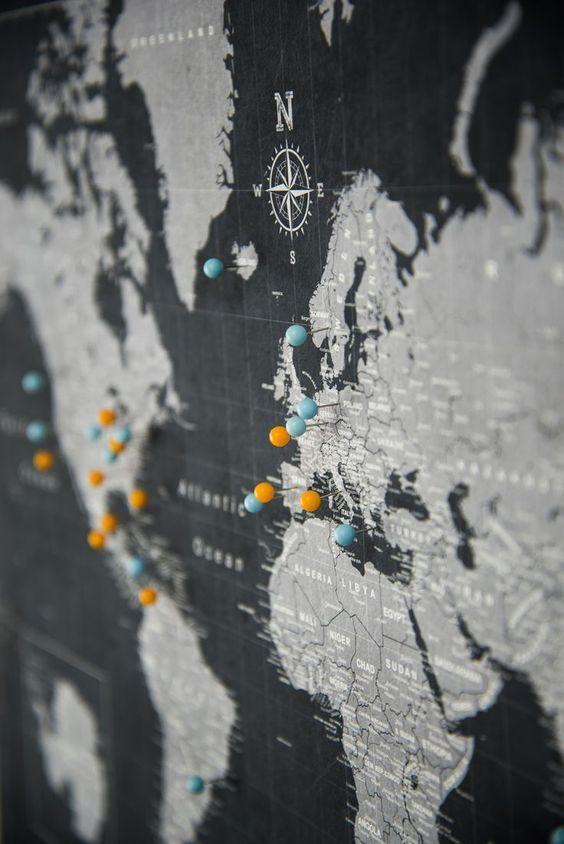 World Travel Map Pin Board w/Push Pins – Modern Slate