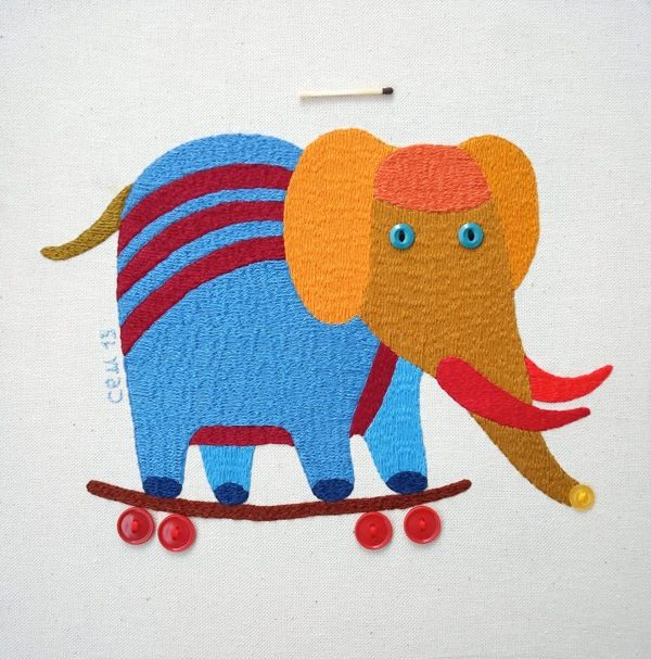New textile works - hand crafted embroider by Ivan Semesyuk,