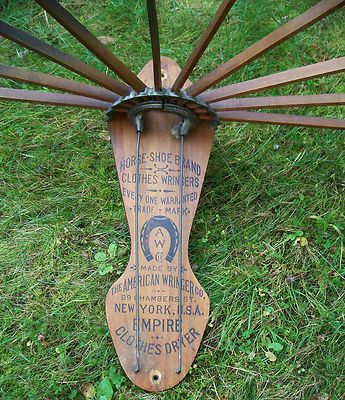 Antique Horse-Shoe Brand American Wringer Empire Wall Clothes Dryer