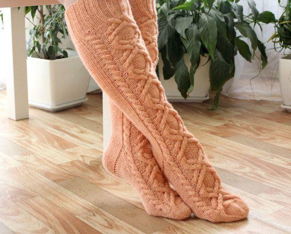 Wool socks Womens socks Boot socks Knee high socks by AngerRefuge