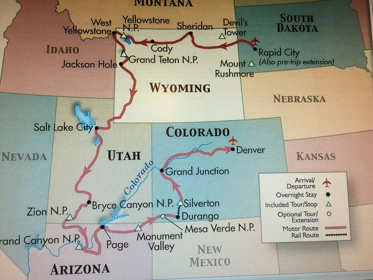 Este viaje de 16 días comenzó en Rapid City, Dakota del Sur, tocó 7 estados, 7 parques nacionales de los Estados Unidos y terminó en Denver, Colorado.