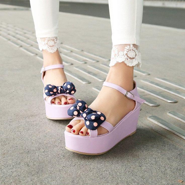 Platform Sandals Women Pumps Polka Dot Bowtie Ankle Straps Wedges Shoes Woman 3451