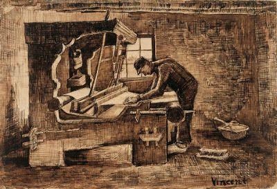 """Vincent van Gogh: i tessitori (serie di disegni e dipinti, 1883-84) """"Sono persone assai difficili da disegnare perché non ci si può allontanare a sufficienza, in quelle loro stanzette, da poter disegnare il telaio."""" Neunen, gennaio 1884"""