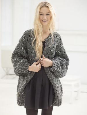 The Open Knit Cardigan is made with our new super bulky yarn, Gold Leaf. Try it out today!