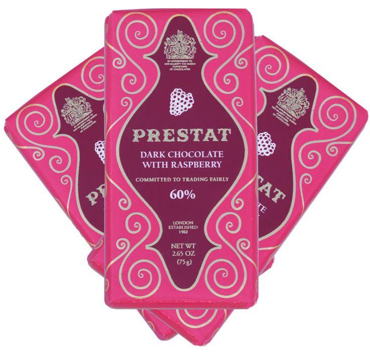 Prestat Dark Chocolate Raspberry Bars - A fine dark chocolate infused with scrumptious raspberry flavours.