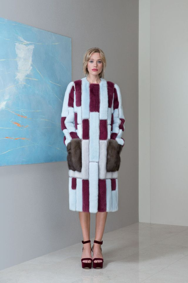 Natural and Dyed Mink Fur Coat with Russian Sable Fur Pockets