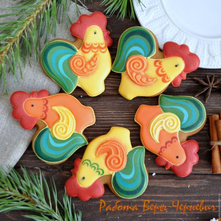 Купить Пряничный петушок - символ года 2017 - пряник, расписные пряники, имбирное печенье
