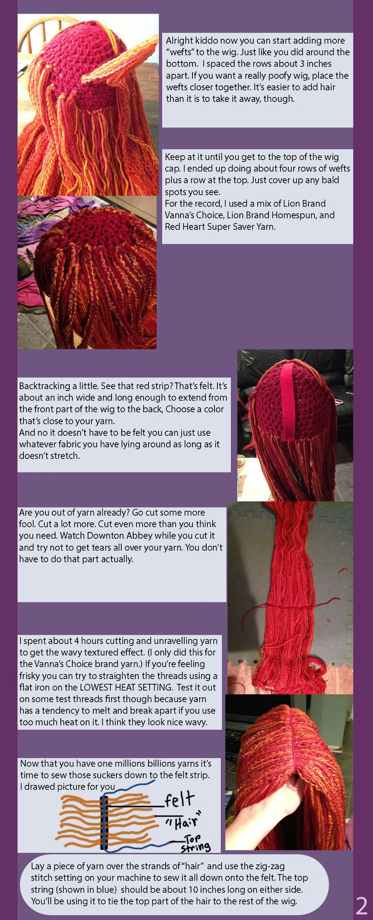 Yarn wig diy...would be good for a Sally costume