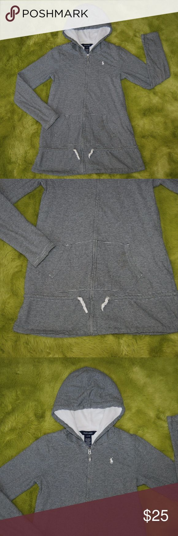 "Ralph Lauren Blue Striped Zip Up Jacket Large Ralph Lauren Girl's Blue White Striped Zip Up Hoodie Jacket Large 12/14 Blue and White striped Drawstring waist White terry cotton lining Good condition NOTE: small hole on top layer of right sleeve (see photo)  Measurements taken with garment flat on table. Armpit to armpit: 15"" Sleeves: 21"" Length: 25"" Ralph Lauren Jackets & Coats"