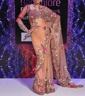 Peach Net Embroidered Saree