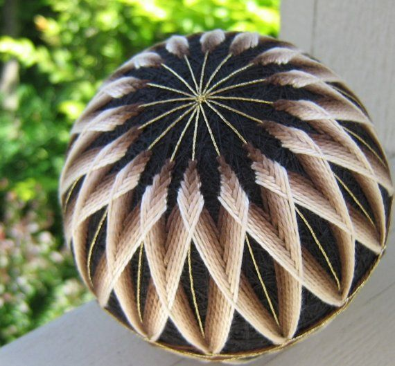 illusions of coffee - hand embroidered thread ball - japanese temari