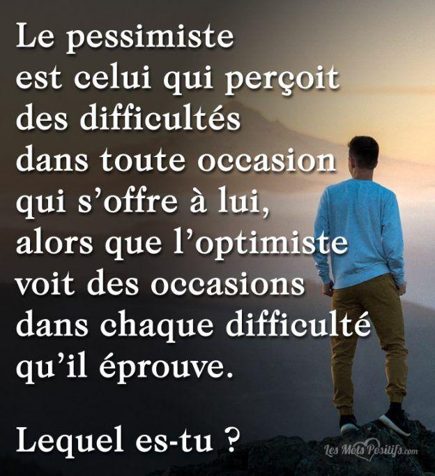 Le pessimiste est celui qui perçoit des difficultés dans toute occasion qui s'offre à lui, alors que l'optimiste voit des occasions dans chaque difficulté qu'il éprouve. Lequel es-tu ? La vie est une succession d'expériences plus ou moins heureuses. Percevoir ses expériences d'une façon optimiste permet un impact sur la santé physique et mentale. Contrairement...