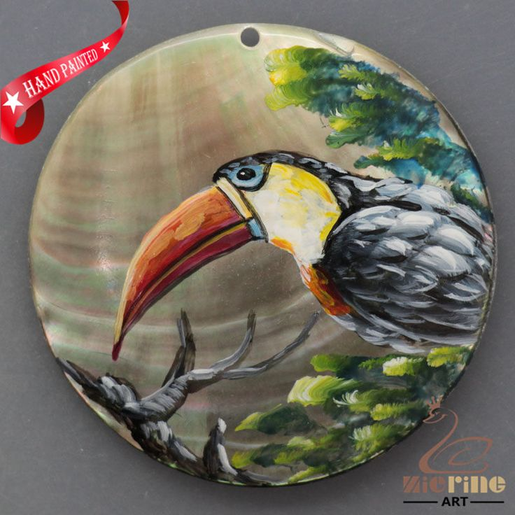 HAND PAINTED TOUCAN BIRD NATURAL MOTHER OF PEARL SHELL PENDANT ZL30 06084 #ZL #PENDANT