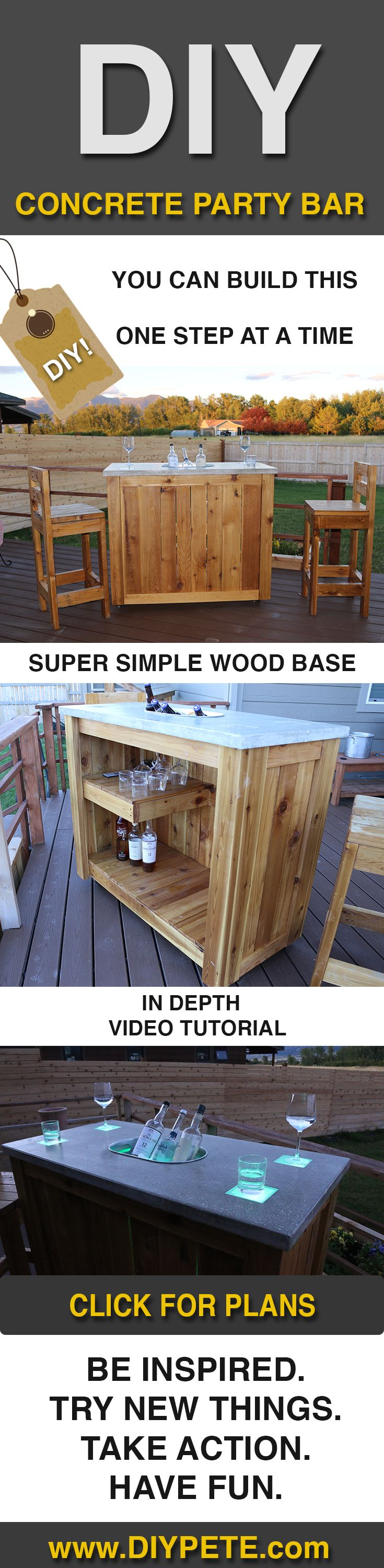Design homemade dining table plans diy ideas 187 woodplans woodplans - Free Plans And Video Tutorial To Build A Concrete Party Bar Woodworking Planswoodworking