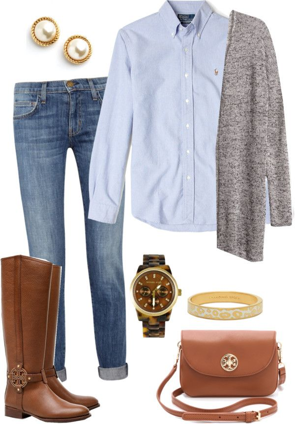 "southernbombshell23: ""Fall is upon us por pinkprep37 con engraved jewelry ❤ liked on Polyvore H&M , $12 / Current/Elliott stretch denim skinny jeans, $135 / Tory Burch  knee high boots / Tory Burch..."
