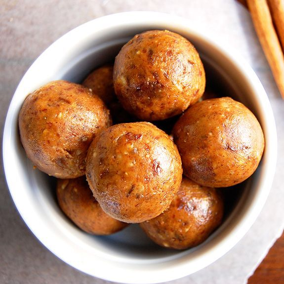 Pumpkin Pie Energy Bites (My Secret Recipe)- Minimum serving size is 2! Seriously, you won't be able to eat just one of these pumpkin spiced Paleo delights.