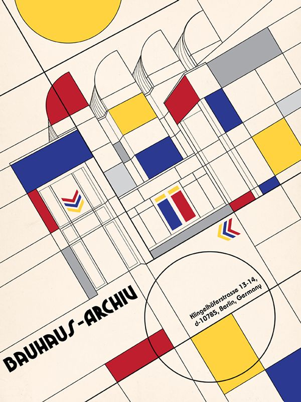 This poster was created for a book about the history of graphic design. The theme was art museums around the world, and they were paired with a style that originated in the same city as its location. This poster shows the Bauhaus Archiv in Berlin, Germany…