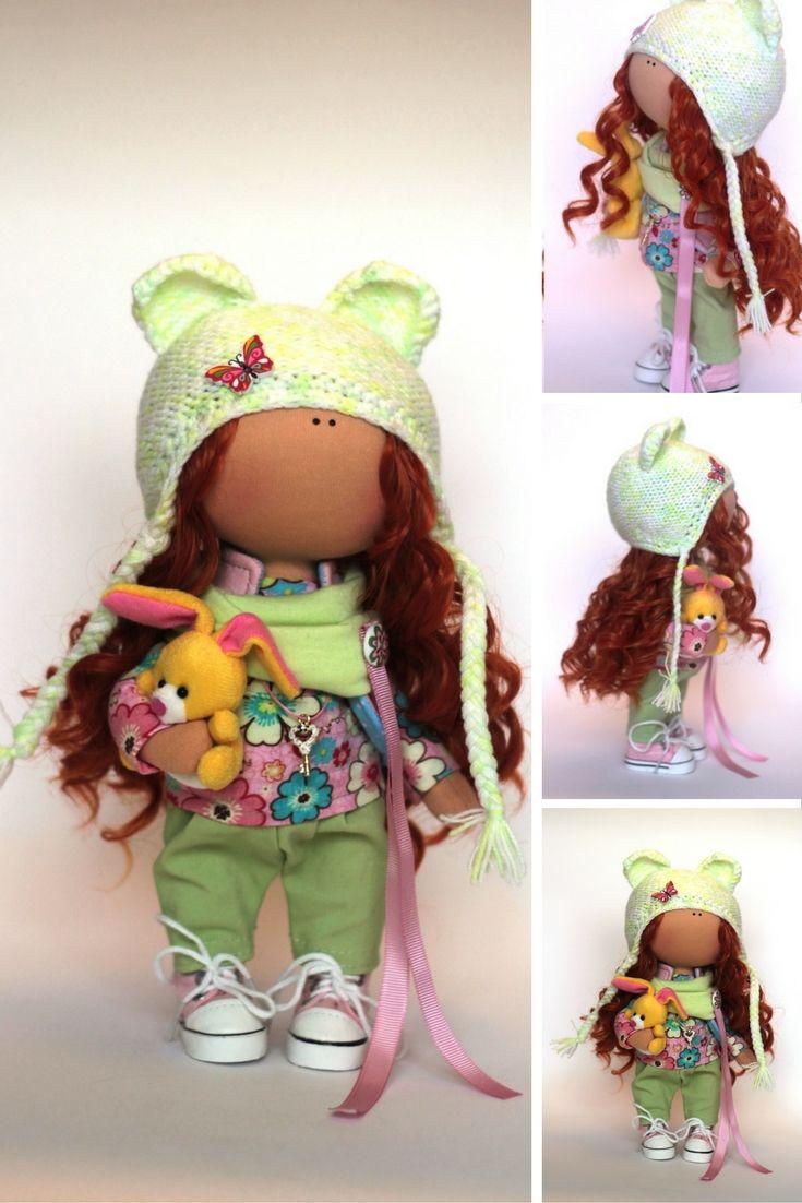 Spring doll Fabric doll Summer doll handmade green color Soft doll Cloth doll…