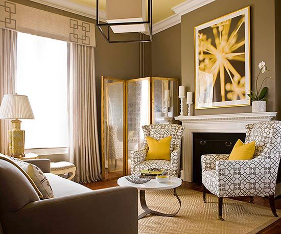 Grays and yellows make for a cool and modern living room! More design ideas: http://www.bhg.com/rooms/living-room/room-arranging/living-room-designs/?socsrc=bhgpin02062014notethedetails&page=6