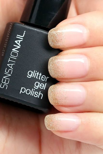 Skip the popular '90s version of the French tip and try this glittery gradient design instead. Want to have a little bit more fun? Swap out the gold glitter for some brighter sparkle. See more at frmheadtotoe.  - GoodHousekeeping.com