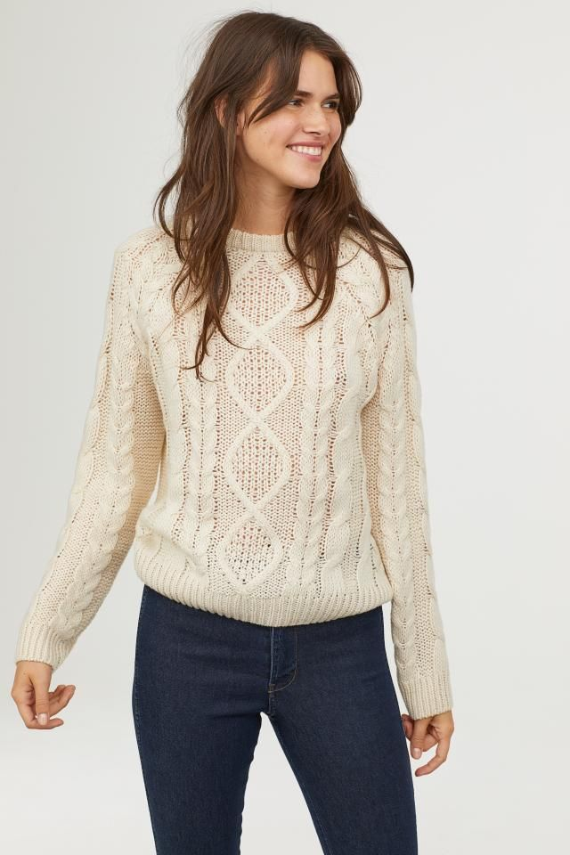 Cable-knit jumper - Natural white - Ladies  efc222934