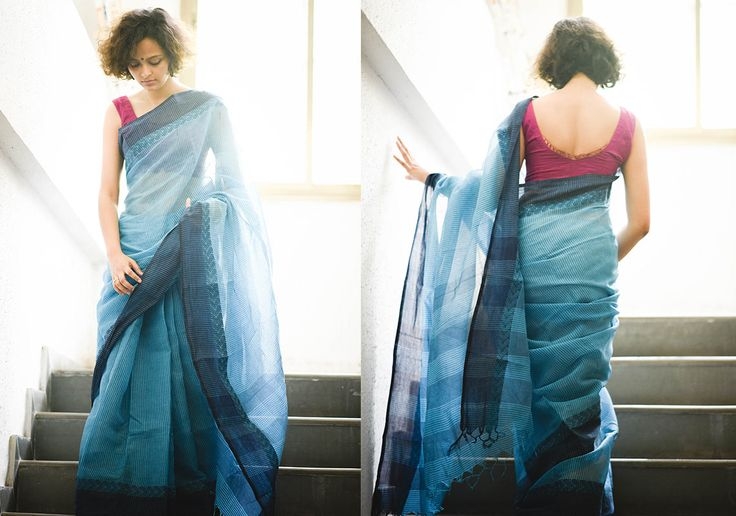 Cotton Sarees - Blue with dark blue border by Suta - PC - 12420 - Main