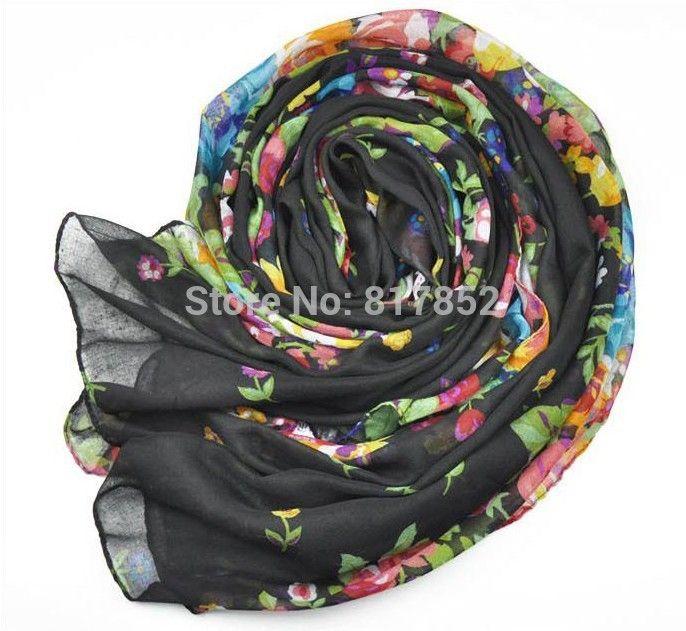 Дамы платки шарф, Большой размер жестяная банка быть мусульманский хиджаб шелк шарф женщины мыс цветочный шарф
