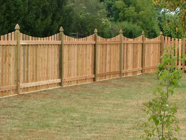 cedar picket fence with colonial gothic point post