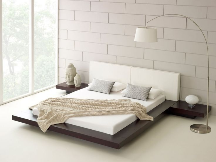 Modern Bedroom for Minimalist Home: Remarkable Modern Bedroom Plus Japanese Bed And Elegant Arc Floor Lamp With White Low Profile Bed Also Soft Mattress Plus Grey Pillows And Cream Bed Cover Along With Wooden Bedside Tables ~ sagatic.com Bedroom Design Inspiration