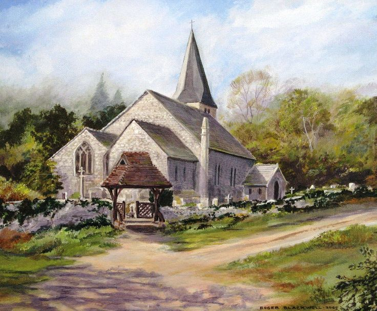 Findon Church  West Sussex Painted in acrylic