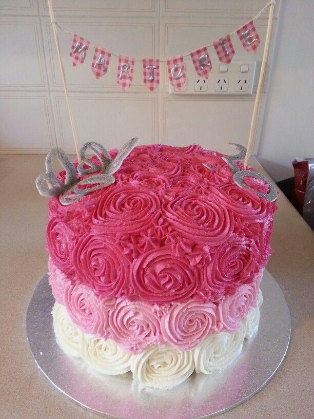 Pink Ombre Rose Cake 30th Birthday Fondant Edible Glitter