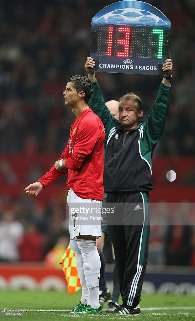 Cristiano Ronaldo of Manchester United comes on as a substitute during the UEFA Champions League match between Manchester United and Villarreal at Old Trafford on September 17 2008, in Manchester, England.