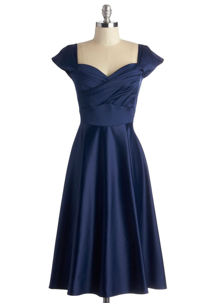 Pine All Mine Dress in Midnight by Stop Staring! - Blue, Solid, Special Occasion, Wedding, Cocktail, Bridesmaid, Vintage Inspired, 50s, Minimal, A-line, Cap Sleeves, Woven, Variation, Sweetheart