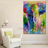 Ручная Роспись Животных слон картина маслом На Холсте Картины Для Гостиной Стены Искусства Холст Поп-арт современный абстрактные обои