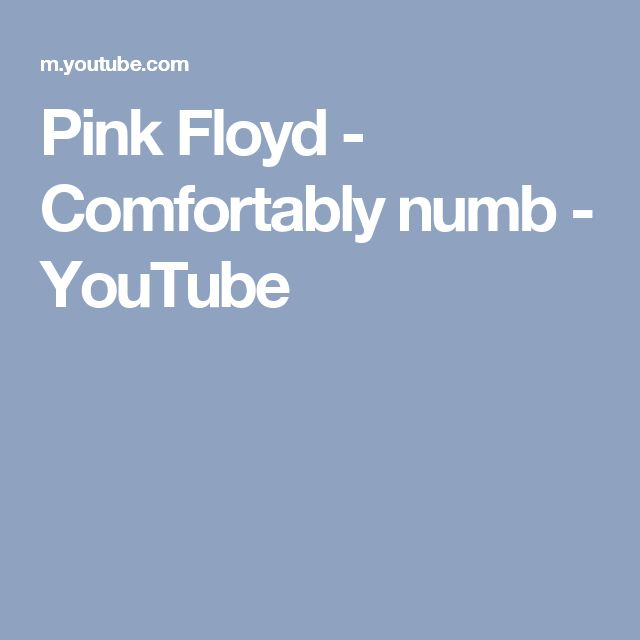 Pink Floyd - Comfortably numb - YouTube