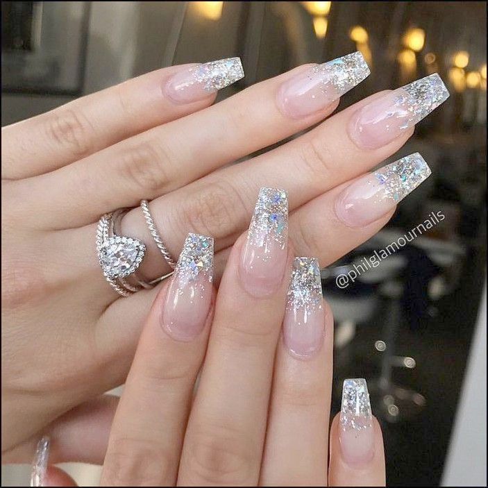Home Blend Of Bites Clear Glitter Nails Glitter Nails Acrylic Coffin Nails Designs