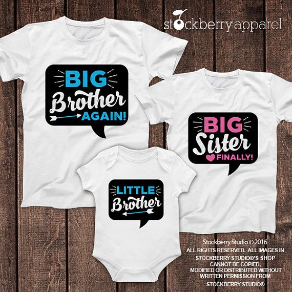 Big Brother Again Big Sister Finally Little Brother Shirt Set of 3 - Big Brother Big Sister Shirts - Big Brother Big Sister Little Brother