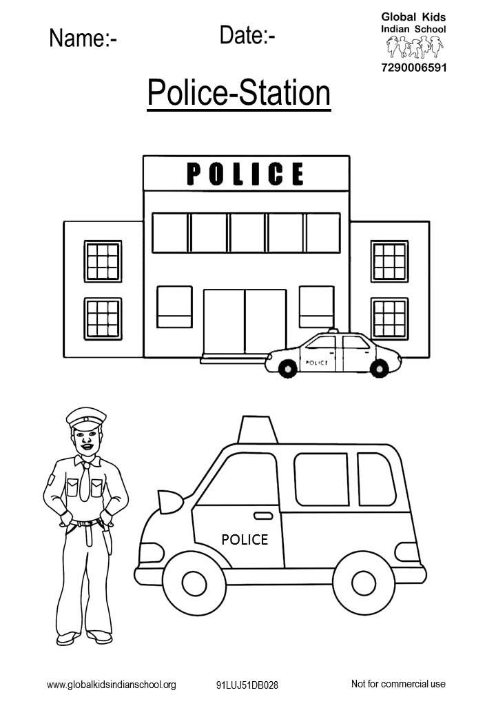 91luj51db028 Qutab Minar Coloring Picture Of Police Station Having Policeman And Police Vehicle Standing In Front Of The Police Station In 2020 Pictures Of Police Police Station Police Crafts