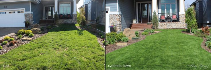 Voles had destroyed this once lush lawn, so the owners had us install this beautiful synthetic lawn that is so easy to care for.