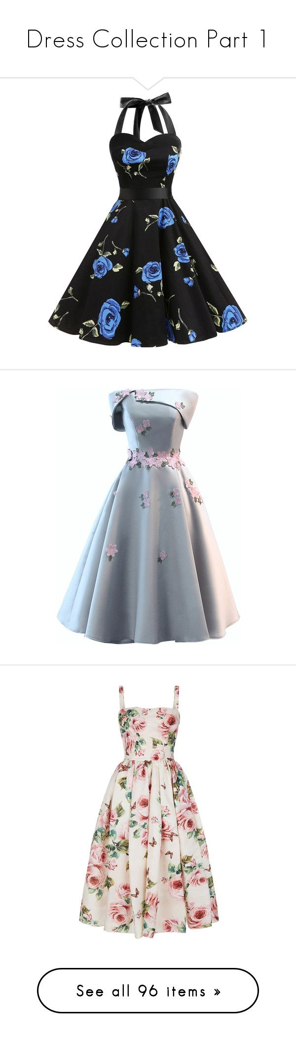 """""""Dress Collection Part 1"""" by waddlesthepig ❤ liked on Polyvore featuring dresses, vintage prom dresses, retro dresses, retro vintage dresses, polka dot prom dress, rockabilly dresses, vestidos curtos, grey prom dresses, prom dresses and floral dresses"""